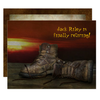 Retirement party-old boots on wood with sunset card