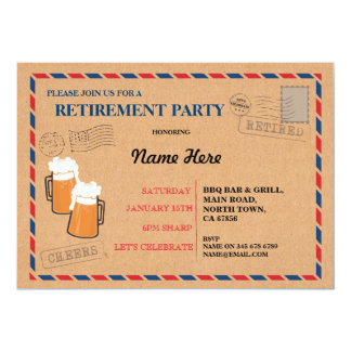 Retirement Party Postal Post Card Retired Invite