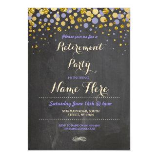 Retirement Party Purple Gold Chalk Retired Invite