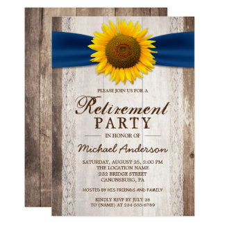 Retirement Party Rustic Barn Wood Sunflower Ribbon 13 Cm X 18 Cm Invitation Card