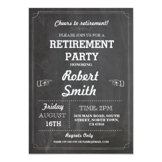 Retirement Party Rustic Retired Chalkboard Invite