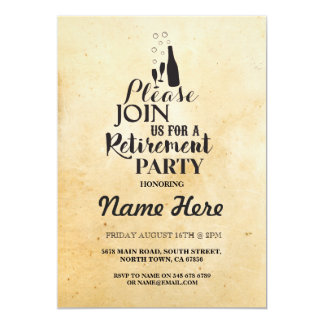 Retirement Party Rustic Retired Champagne Invite