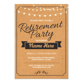Retirement Party Rustic Retired Paper Stamp Invite