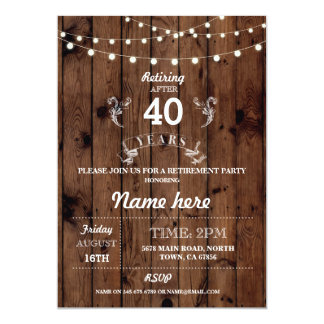 Retirement Party Rustic Retired Wood Cheers Invite