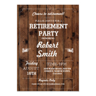 Retirement Party Rustic Retired Wood Invite
