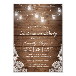 Retirement Party | Rustic Wood String Lights Lace 13 Cm X 18 Cm Invitation Card