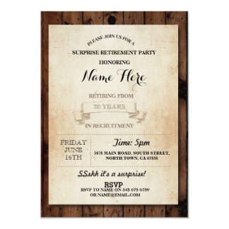 Retirement Party Vintage Retired Wood paper Invite