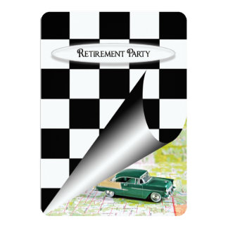 Retirement Party with Old Car 13 Cm X 18 Cm Invitation Card