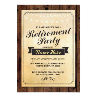 Retirement Party Wood Retired Lights Invitation