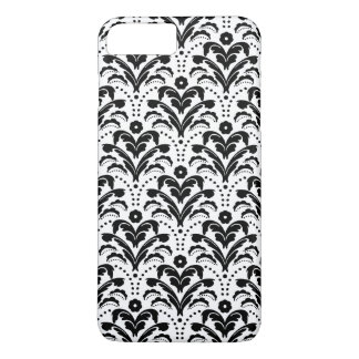 Retro 1930s Modern Girl Flapper Damask Black White iPhone 7 Plus Case