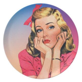 Retro 1950s Girl Melamine Plate