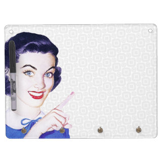 Retro 1950s Pointing Woman Dry Erase Board With Key Ring Holder