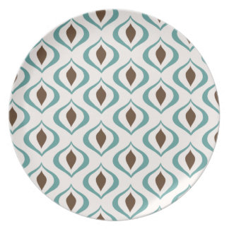Retro 1970's Geometric Pattern in Brown and Green Party Plates