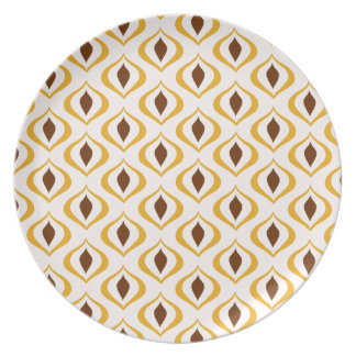 Retro 1970's Geometric Pattern in Brown and Yellow Dinner Plate