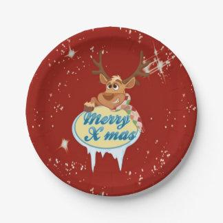 Retro 50's Reindeer 7 Inch Paper Plate