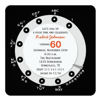 Retro 60th Birthday Party Invitation Rotary Dial