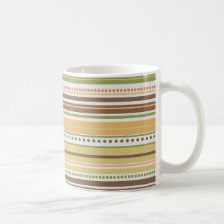 Retro 70's Color Theme Striped Basic White Mug