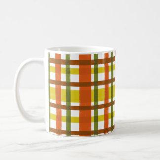 Retro 70s Orange Yellow Plaid Coffee Mug