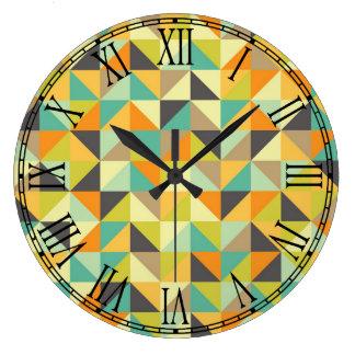 Retro 70s Pattern Large Clock