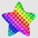Retro 80s punk rainbow check pattern