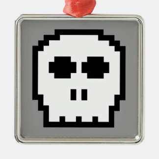 Retro 8-bit Skull Christmas Ornament