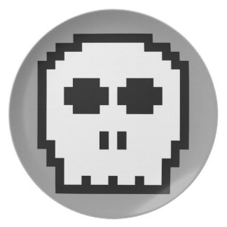Retro 8-bit Skull Dinner Plate
