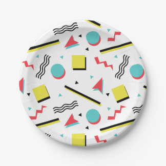 Retro 90s Seamless Pattern 7 Inch Paper Plate