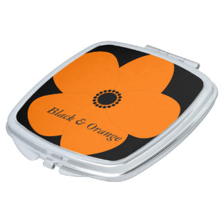 Retro Abstract Black Orange Flower Mirror Compact Mirrors