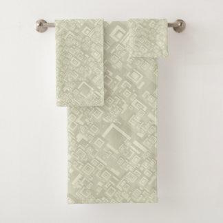 Retro Abstract Rectangle Pattern Beige Bath Towel Set