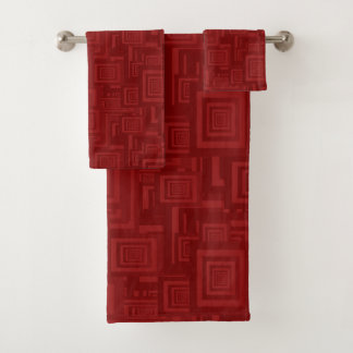 Retro Abstract Rectangle Pattern Red Bath Towel Set