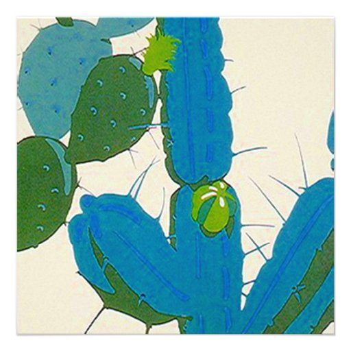 Retro Abstract Turquoise Cactus Square Invitation