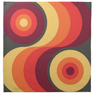 Retro Abstract Wavy Rainbow Squares Abstract Art Napkin