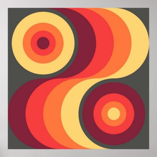 Retro Abstract Wavy Rainbow Squares Abstract Art Print
