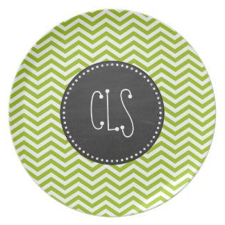 Retro Apple Green Chevron Stripes Chalkboard look Dinner Plates
