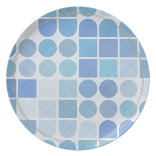 Retro Aqua and white patterns Plates