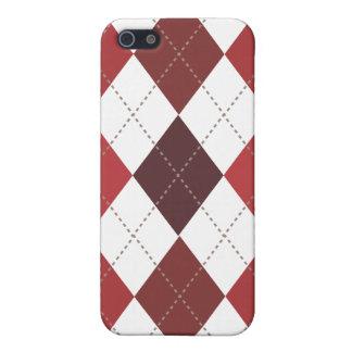 Retro Argyle Trendy Crimson Red iPhone 5 Case
