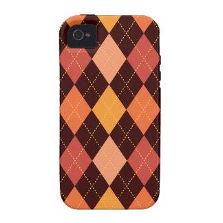 Retro Argyle Trendy Orange Brown Fun iPhone 4/4S Cover