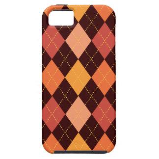 Retro Argyle Trendy Orange Brown Fun Tough iPhone 5 Case