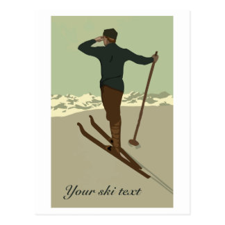 Retro art deco ski travel ad customisable postcard