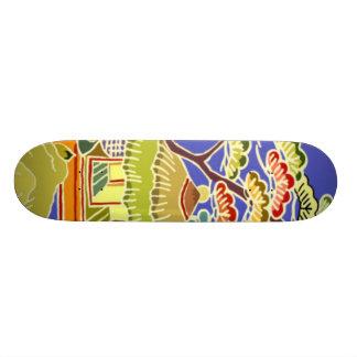 Retro Asian Fantasy City Design Skateboard
