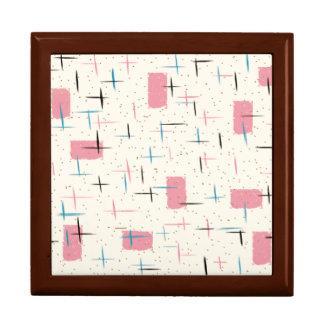 Retro Atomic Pink Pattern Wooden Keepsake Box