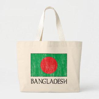 Retro Bangladesh Flag Totebag Large Tote Bag
