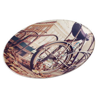 Retro bike porcelain plate