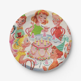 Retro Birthday Party Plate 7 Inch Paper Plate