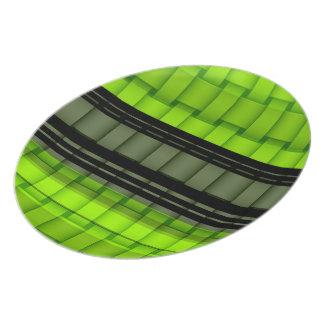 Retro black and green art stripes graphic design plates