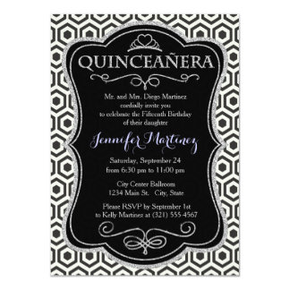 Retro Black and White Honeycomb Pattern Personalized Announcement