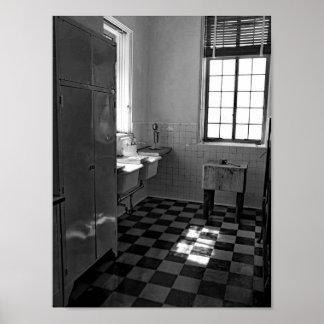 Retro Black And White Kitchen Photograph Poster