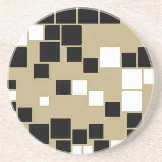 Retro Black and White Pattern Seamless Art Coaster