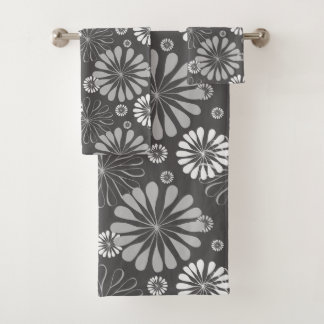 Retro Black White daisy Pattern Bath Towel Set