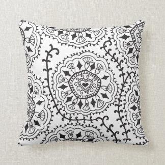 Retro Black & White Pattern Throw Pillow